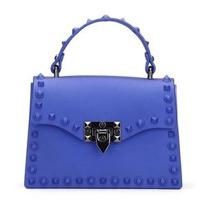 Luxury Blue Studded Jelly Bag with Rivets